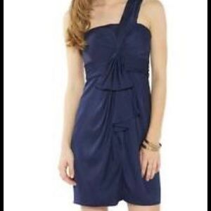 Navy blue one shoulder cocktail dress